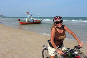 Cycling Hua Hin beach is perfect at low tide