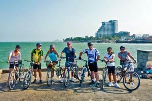 Cyclists break for a photo on the Hua Hin Pier